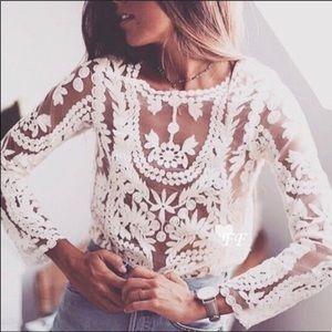 White Bohemian Crochet Lace Blouse